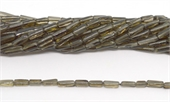 Smokey Quartz Pol.Tube apprx 6x10mm strand 87 beads-5 strands or more for $4.00 per strand-Beadthemup