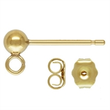 14k gold Filled ball stud 3mm 2 pair-earwires, studs and hoops-Beadthemup