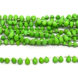 Green Dyed Jade Faceted Briolette 8x5mm strand 28 beads-5 strands or more for $4.00 per strand-Beadthemup