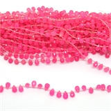 Pink Dyed Jade Faceted Briolette 8x5mm strand 28 beads-5 strands or more for $4.00 per strand-Beadthemup