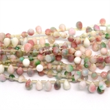 Dyed Jade Pink Green Faceted Briolette 9mmx6mm strand 28 beads-gemstone beads-Beadthemup