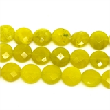 Serpentine Yellow Jade Faceted Coin 14mm strand 28 beads-jade-Beadthemup