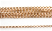 ROSE Gold plate Brass Chain Rollo 2.5mm per Meter -silver, rhodium and gold plate-Beadthemup