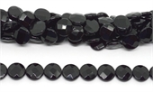Onyx Faceted flat Round 16mm strand 25 beads-onyx-Beadthemup