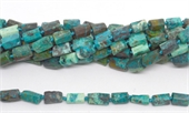 Chrysocolla Rough Faceted tube 12x6mm strand 33 beads -chrysocolla-Beadthemup