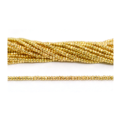 Hematite Gold plated Faceted rondel 3mm strand 186 beads