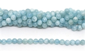 Aquamarine Polished Round 8mm strand 53 beads-beryl and morganite-Beadthemup