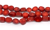 Red Coral coin 20x14mm strand 23 beads-gemstone beads-Beadthemup