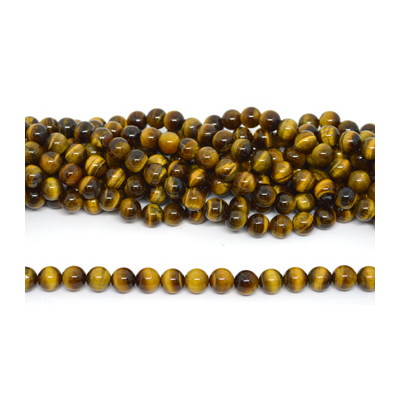 Tiger Eye Polished Round 12mm strand 33 beads