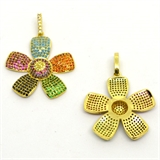 Gold plate CZ Pendant Flower brass 37mm including bail EACH-silver, rhodium and gold plate-Beadthemup