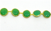 Vermeil Bezel set Chrysophase 15mm EACH BEAD-chrysophase-Beadthemup
