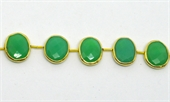 Vermeil Bezel set Chrysophase side drill 16x11mm EACH BEAD-chrysophase-Beadthemup
