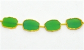 Vermeil Chrysophase Dyed Slice app 12x15mm EACH bead-beads incl pearls-Beadthemup