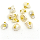Fresh Water Pearl Keshi 7mm Gold plate hand wrapped drop pack of 10-silver, rhodium and gold plate-Beadthemup