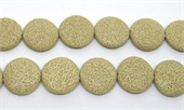 Lava cream 32mm flat  Round EACH BEAD-lava-Beadthemup