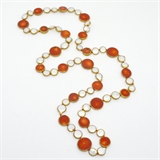 Coral and Pearl copper Bezel Necklace 90cm -jewellery-Beadthemup