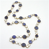 Sodalite and Pearl copper Bezel Necklace 90cm -jewellery-Beadthemup