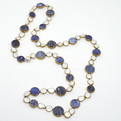 Sodalite and Pearl copper Bezel Necklace 90cm