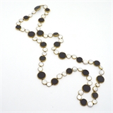 Onyx and Pearl copper Bezel Necklace 90cm -jewellery-Beadthemup