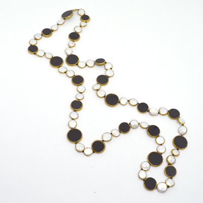 Onyx and Pearl copper Bezel Necklace 90cm
