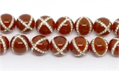 Carnelian with Crystals X design 14mm EACH-gemstone beads-Beadthemup