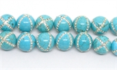 Turquoise Howlite with Crystals X design 14mm EACH-onyx-Beadthemup
