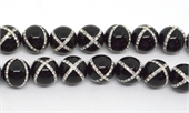 Onyx with Crystals X design 14mm EACH-onyx-Beadthemup