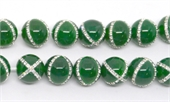 Green Agate with Crystals X design 14mm EACH-agate-Beadthemup