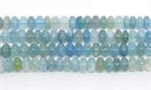Aquamarine Polished Rondel 10x6mm strand 68 beads-beryl and morganite-Beadthemup