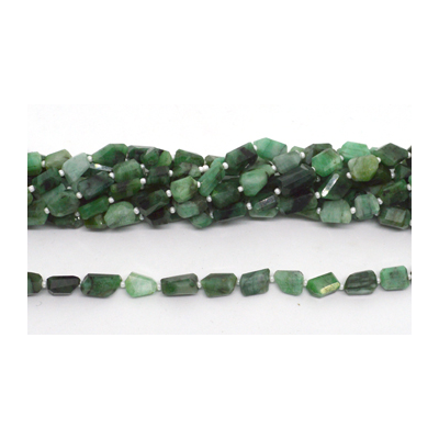 Emerald Faceted Nugget 9x7mm strand 28 beads