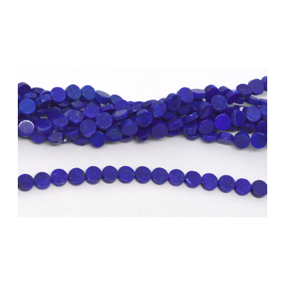 Lapis Polished flat round 6mm Strand 66 beads