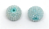 Aquamarine 13x15mm woven 2mm beaded bead EACH-beads incl pearls-Beadthemup