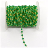 Green Onyx app 4mm Fac round Vermeil handmade Chain per Meter-beads incl pearls-Beadthemup