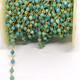 Turquoise China app 4mm Pol round Vermeil handmade Chain per Meter-beads incl pearls-Beadthemup