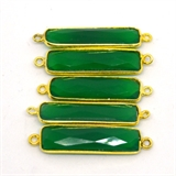 Vermeil Green Onyx Connector 33x8mm EACH PIECE-beads incl pearls-Beadthemup