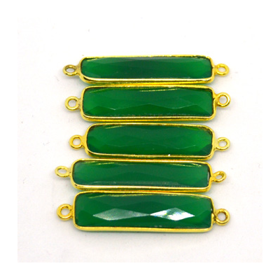 Vermeil Green Onyx Connector 33x8mm EACH PIECE