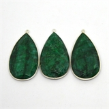 Sterling Silver Emerald Dyed Pendant 50x26mm EACH PIECE-beads incl pearls-Beadthemup