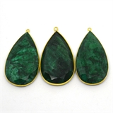 Vermeil Emerald Dyed Pendant 50x26mm EACH PIECE-beads incl pearls-Beadthemup