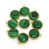 Vermeil Malachite Reconstited Pendant 18x16mm EACH PIECE-beads incl pearls-Beadthemup