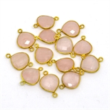 Vermeil Rose Quartz Connector 20x14mm EACH PIECE-beads incl pearls-Beadthemup