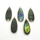 Sterling Silver Labradorite Pendant 46x17mm EACH PIECE-beads incl pearls-Beadthemup