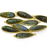 Vermeil Labradorite Connector 40x12mm EACH PIECE-beads incl pearls-Beadthemup