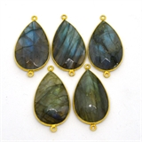 Vermeil Labradorite Connector 40x20mm EACH PIECE-beads incl pearls-Beadthemup