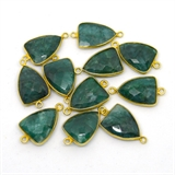 Vermeil Emerald Dyed Connector 26x15 EACH PIECE-beads incl pearls-Beadthemup