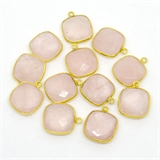 Vermeil Rose Quartz Pendant 18x15mm EACH PIECE-beads incl pearls-Beadthemup