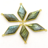 Vermeil Labradorite Connector 33x15mm EACH PIECE-beads incl pearls-Beadthemup