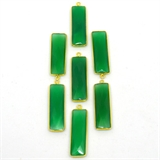 Vermeil Green Onyx Pendant 36x10mm EACH PIECE-beads incl pearls-Beadthemup