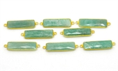 Vermeil Amazonite  Connector 40x11mm EACH PIECE-beads incl pearls-Beadthemup