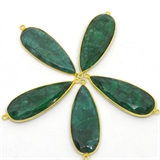 Vermeil Emerald Dyed Connector 48x17mm EACH PIECE-beads incl pearls-Beadthemup