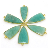 Vermeil Amazonite Connector 39x16mm EACH PIECE-beads incl pearls-Beadthemup